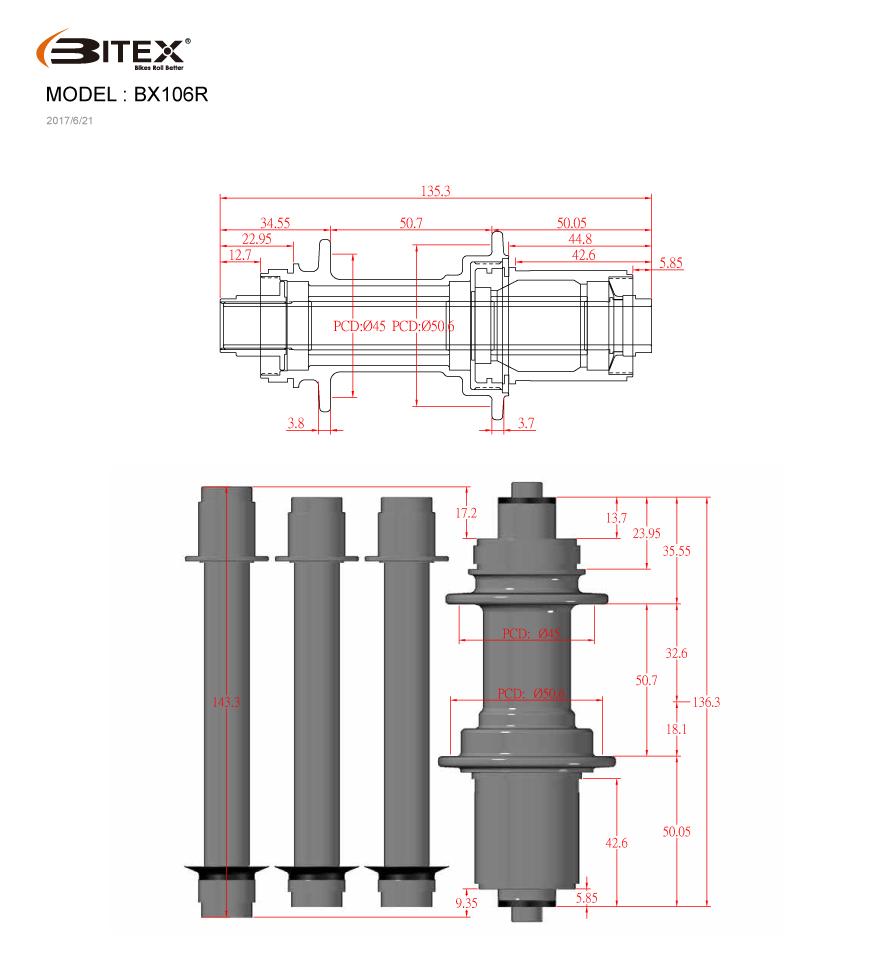 BITEX BX106R Rear Hub :: £81 00 :: Parts & Accessories :: Components
